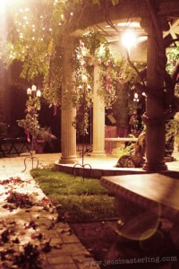 Pergola at night. Manor Hotel, Hollywood, CA.