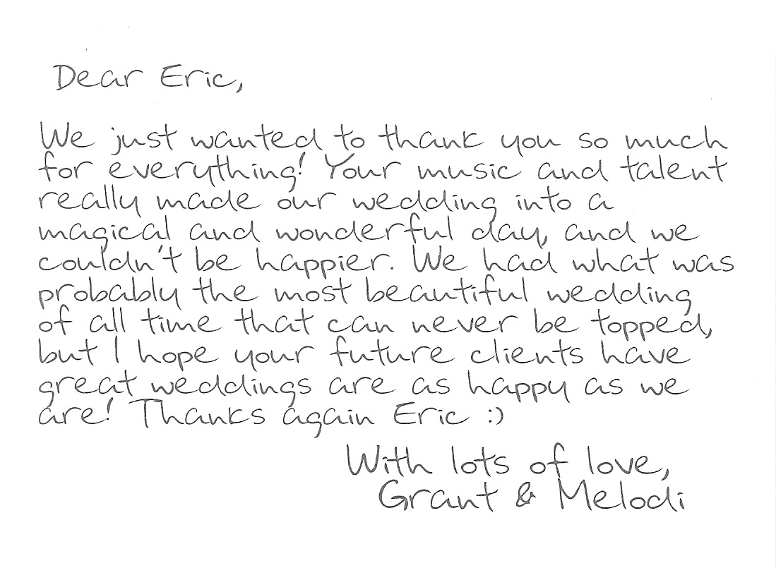 """Thank You"" note from Melodi and Grant"