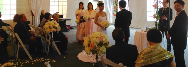 Wedding Ceremony Four Seasons Westlake Village Tent due to rain.