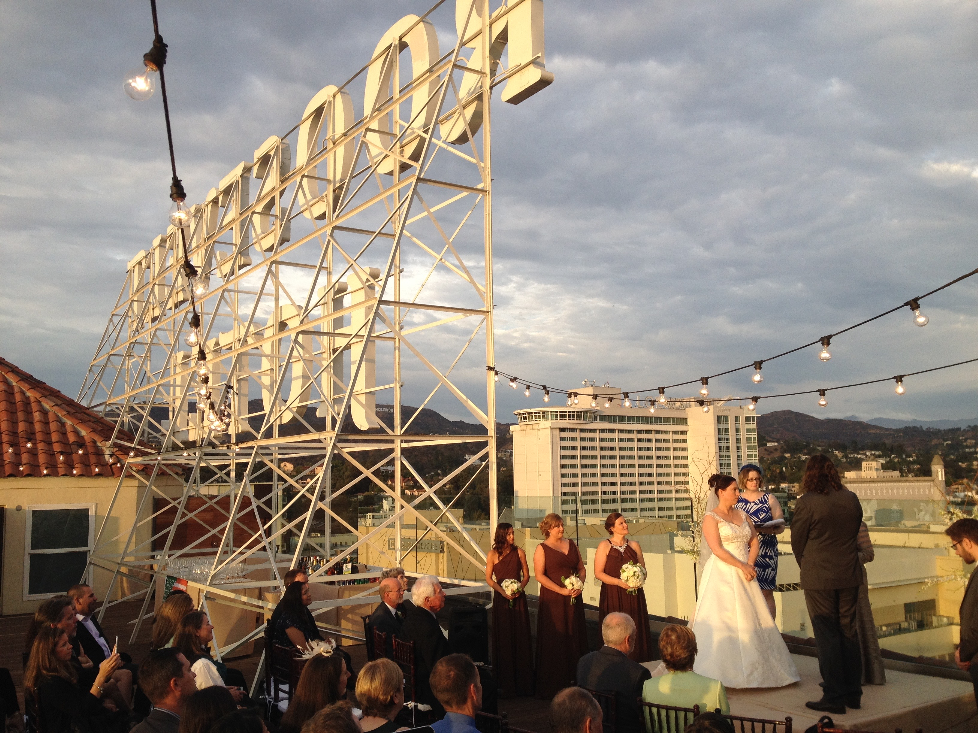 Roof Top Wedding Hollywood Roosevelt Hotel Elegant Music
