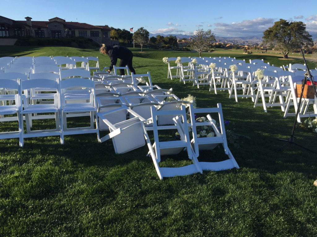 Wedding Ceremony Chairs Blown Down